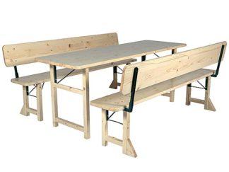 Festbank Tischgarnitur mit Holzfüsse und Lehne